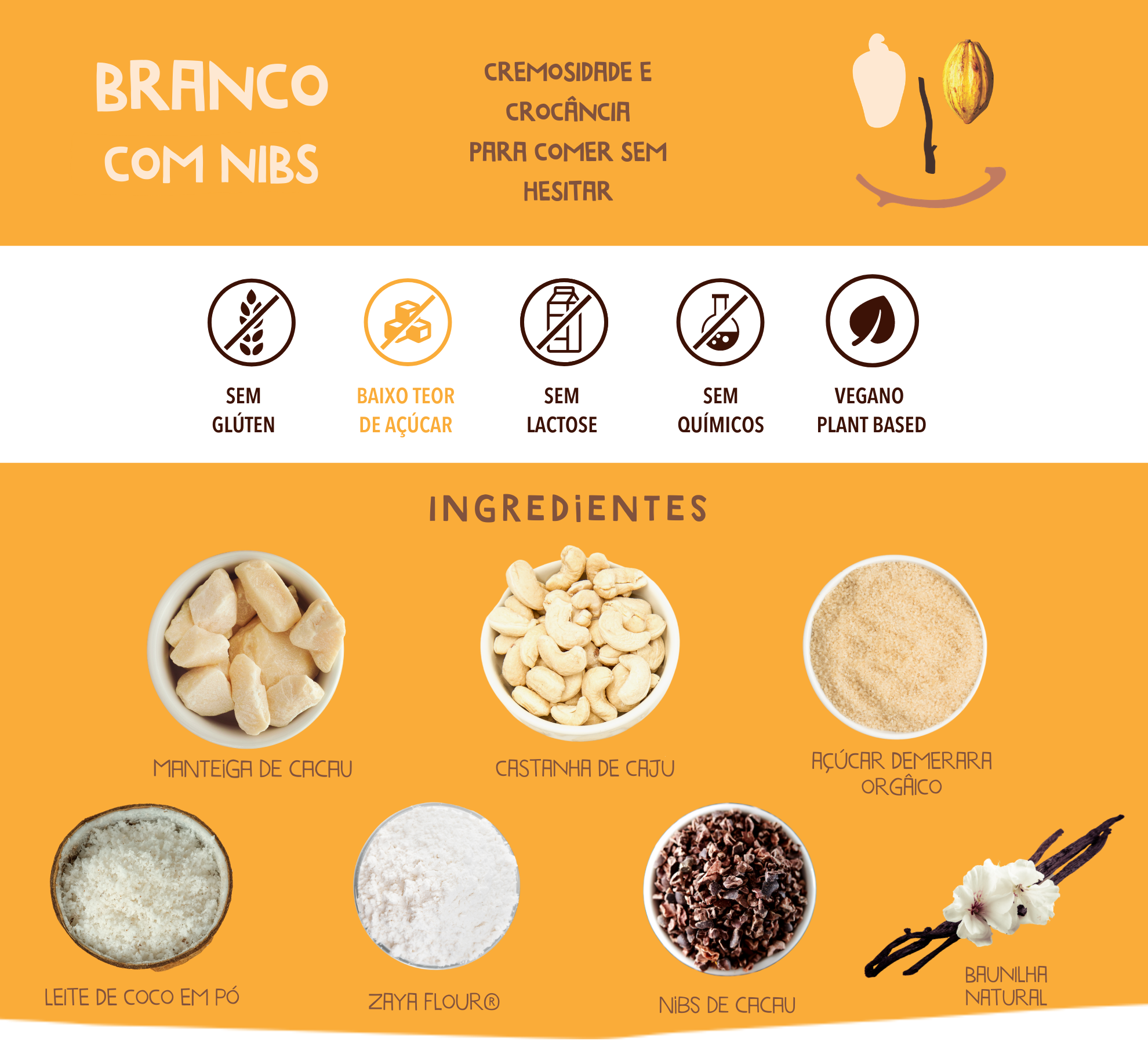 chocolate branco com nibs cookoa ingredientes