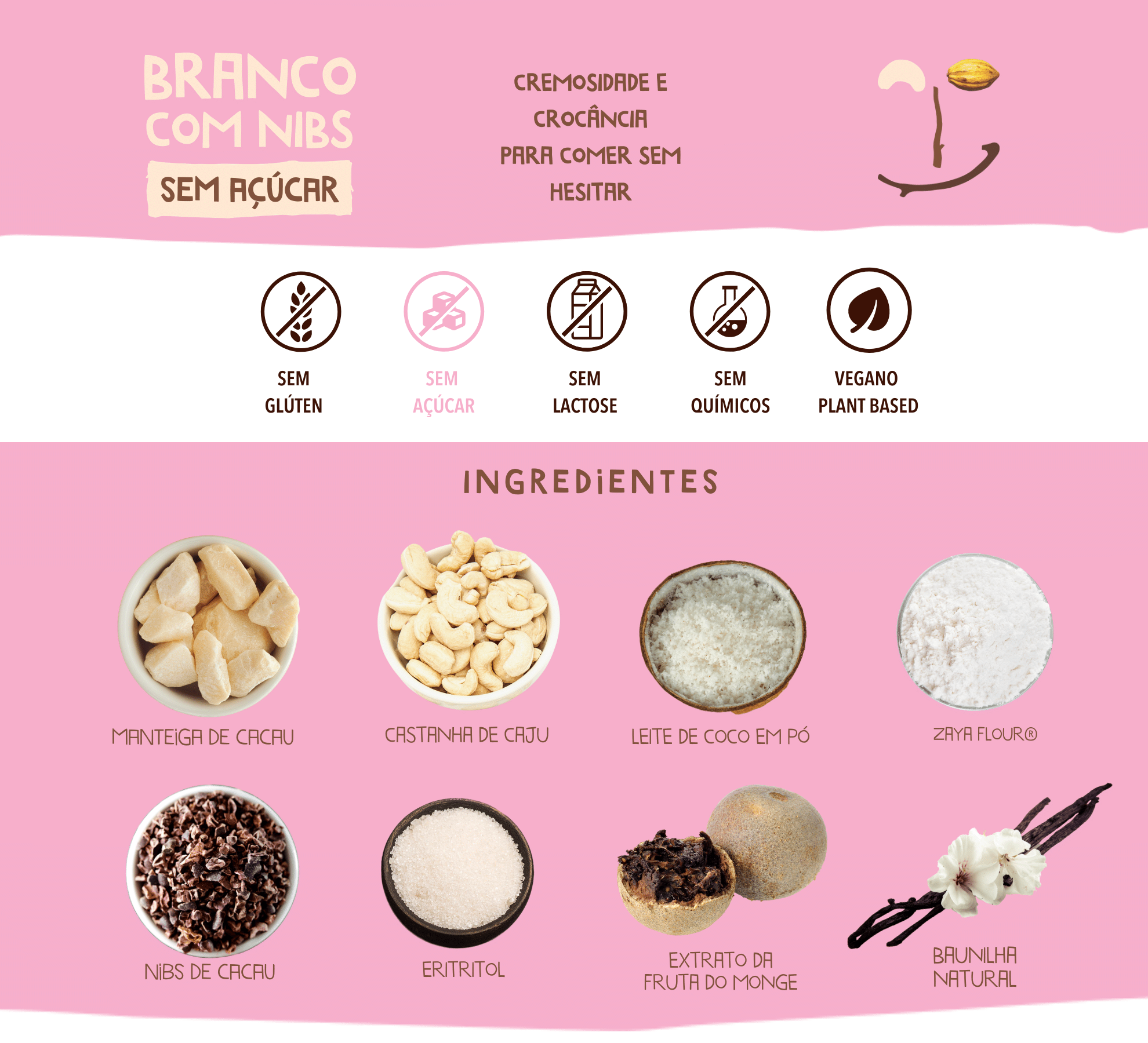 chocolate branco sem acucar cookoa ingredientes