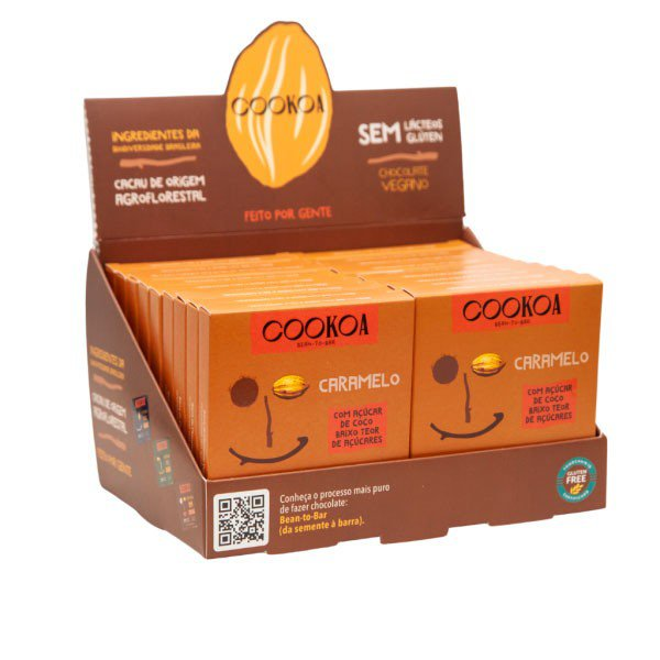 chocolate caramelo display 18 barras de 30g cookoa